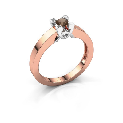 Verlovingsring Nina 1 585 rosé goud rookkwarts 3.7 mm