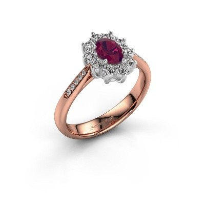 Verlovingsring Leesa 2 585 rosé goud rhodoliet 6x4 mm