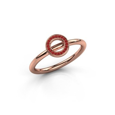 Ring Shape round small 375 rosé goud robijn 0.8 mm