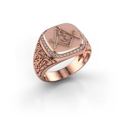 Foto van Herenring Hugo 585 rosé goud diamant 0.255 crt