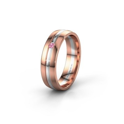 Wedding ring WH0420L25X 585 rose gold pink sapphire ±5x1.5 mm
