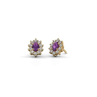 Picture of Earrings Leesa 375 gold amethyst 6x4 mm