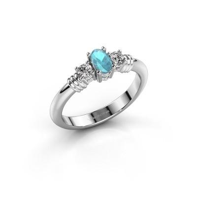 Foto van Promise ring Pippa 585 witgoud blauw topaas 5x4 mm