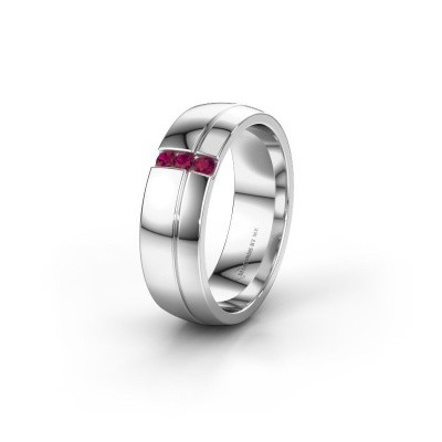 Wedding ring WH0223L56A 585 white gold rhodolite ±0.24x0.07 in