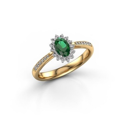 Engagement ring Tilly ovl 2 585 gold emerald 6x4 mm