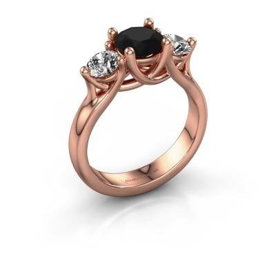 Verlovingsring Esila 375 rosé goud zwarte diamant 2.00 crt