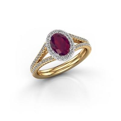 Engagement ring Rachele 2 585 gold rhodolite 7x5 mm