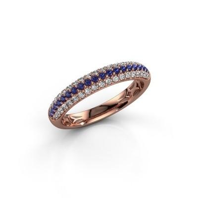 Foto van Ring Emely 2 375 rosé goud saffier 1.3 mm