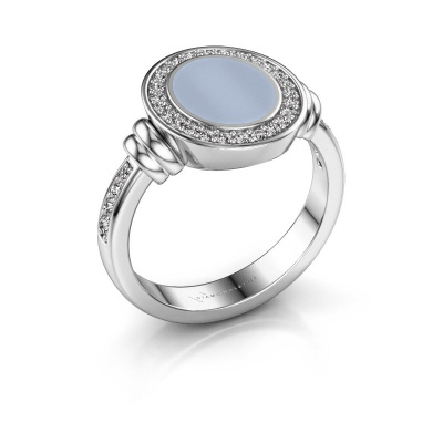 Signet ring Bailey 950 platinum light blue sardonyx 10x8 mm