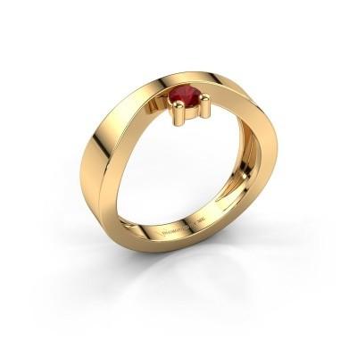 Verlovingsring Elisabeth 585 goud robijn 3.4 mm