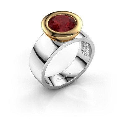 Ring Maxime 585 witgoud robijn 8 mm