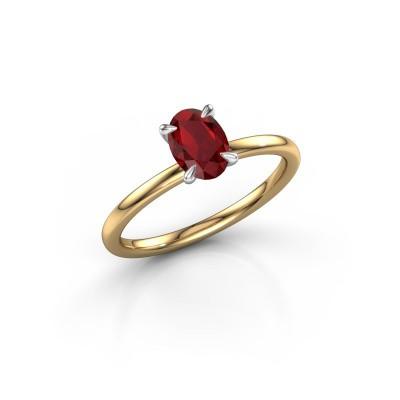 Foto van Verlovingsring Crystal OVL 1 585 goud robijn 7x5 mm
