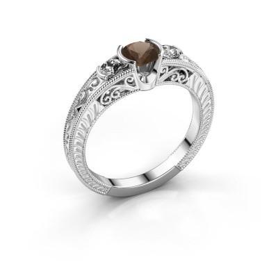 Foto van Promise ring Tasia 950 platina rookkwarts 5 mm