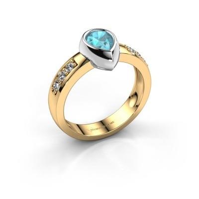 Ring Charlotte Pear 585 Gold Blau Topas 8x5 mm