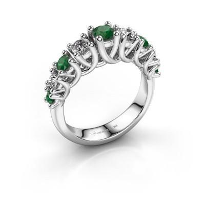 Verlovingsring Fatima 585 witgoud smaragd 3.7 mm