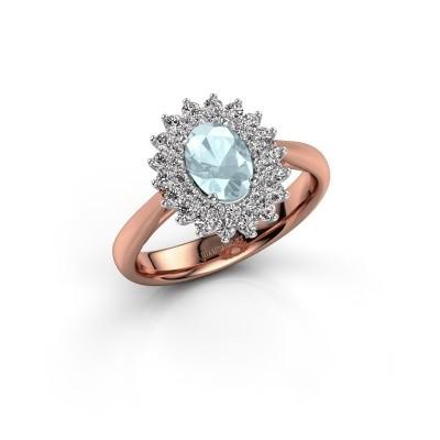 Engagement ring Alina 1 585 rose gold aquamarine 7x5 mm