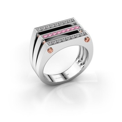 Foto van Heren ring Jauke 585 witgoud roze saffier 1.7 mm