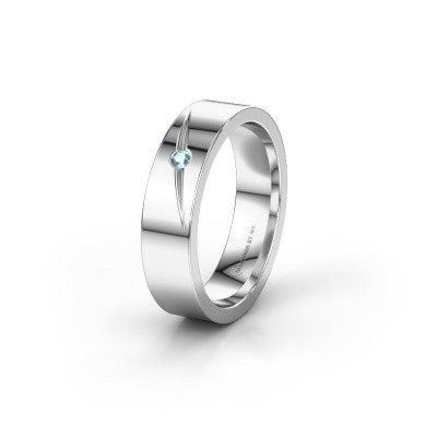 Wedding ring WH0170L15A 585 white gold aquamarine ±5x1.7 mm