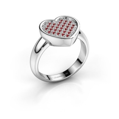 Ring Veerle 585 witgoud robijn 1 mm