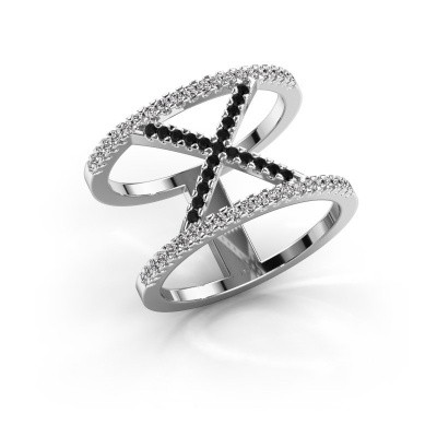 Ring Sharri 2 925 zilver zwarte diamant 0.449 crt