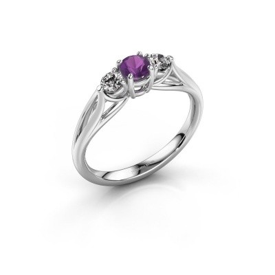 Picture of Engagement ring Amie RND 925 silver amethyst 4.2 mm