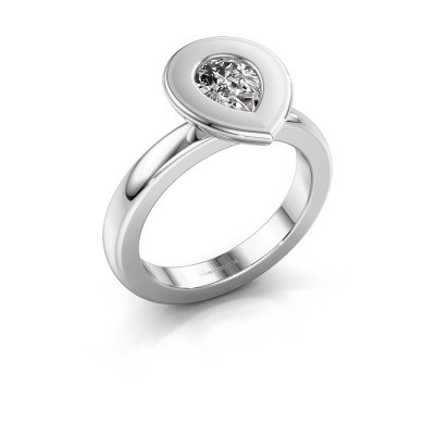 Stapelring Eloise Pear 585 witgoud zirkonia 7x5 mm