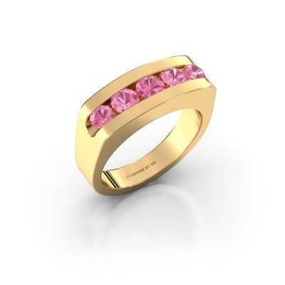 Men's ring Richard 375 gold pink sapphire 4 mm