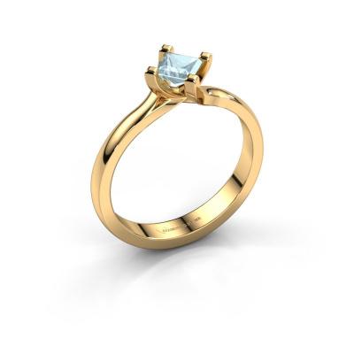 Engagement ring Dewi Square 585 gold aquamarine 4 mm