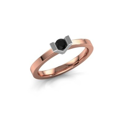 Aanzoeksring Sherley 1 585 rosé goud zwarte diamant 0.18 crt