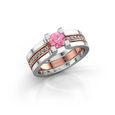 Foto van Verlovingsring Myrthe 585 rosé goud roze saffier 5 mm