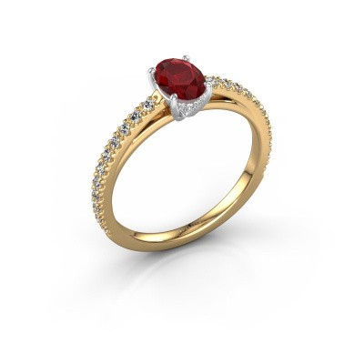 Picture of Engagement ring Haley OVL 2 585 gold ruby 6.5x4.5 mm