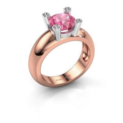 Ring Tamara RND 585 Roségold Pink Saphir 8 mm