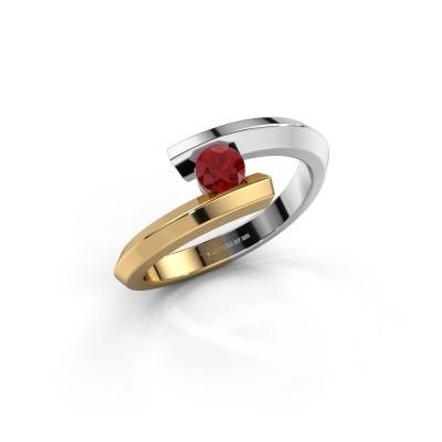 Ring Paulette 585 witgoud robijn 3.4 mm