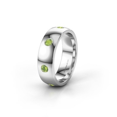 Wedding ring WH0105L26BP 950 platinum peridot ±6x2 mm