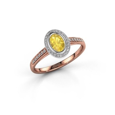 Engagement ring Noud 2 OVL 585 rose gold yellow sapphire 6x4 mm