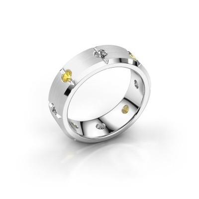 Herren ring Irwin 375 Weißgold Gelb Saphir 2.7 mm