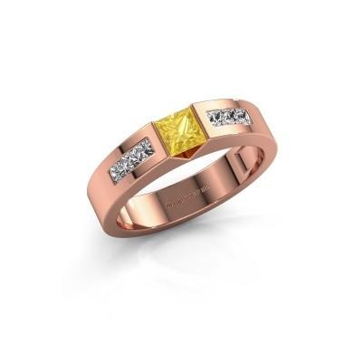 Foto van Verlovings ring Arlena 2 375 rosé goud gele saffier 4 mm