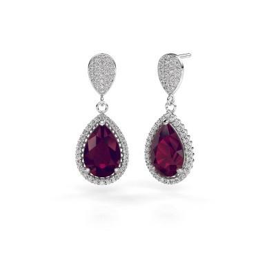 Drop earrings Cheree 2 950 platinum rhodolite 12x8 mm