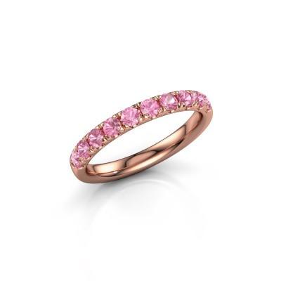 Foto van Aanschuifring Jackie Half 375 rosé goud roze saffier 2.4 mm