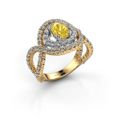 Ring Chau 585 goud gele saffier 7x5 mm