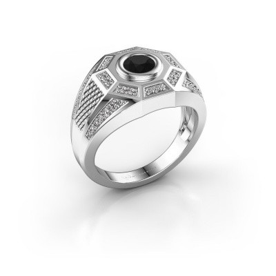 Heren ring Enzo 375 witgoud zwarte diamant 0.945 crt