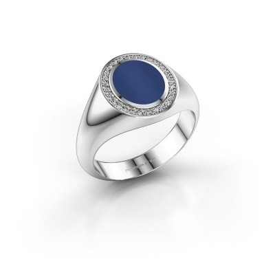 Pinky ring Adam 1 375 white gold lapis 10x8 mm