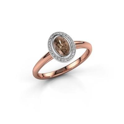 Verlovingsring Noud 1 OVL 585 rosé goud bruine diamant 0.56 crt
