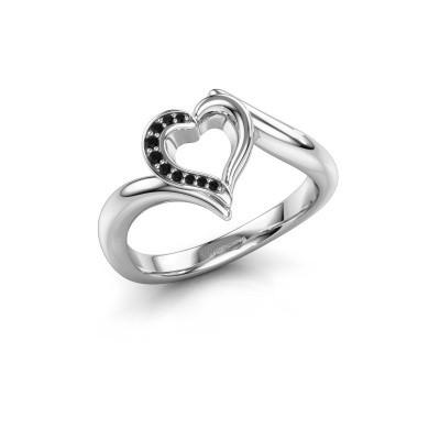 Ring Katlyn 950 platina zwarte diamant 0.046 crt