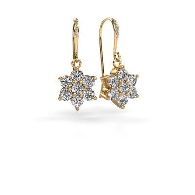 Picture of Drop earrings Dahlia 2 375 gold diamond 1.46 crt