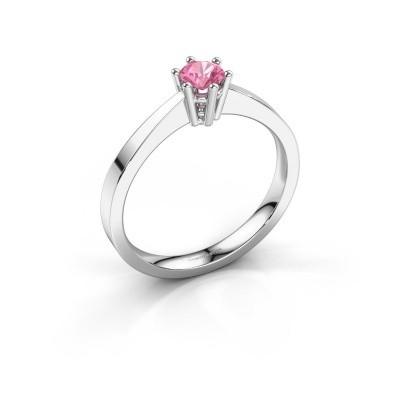 Foto van Verlovingsring Noortje 585 witgoud roze saffier 4 mm