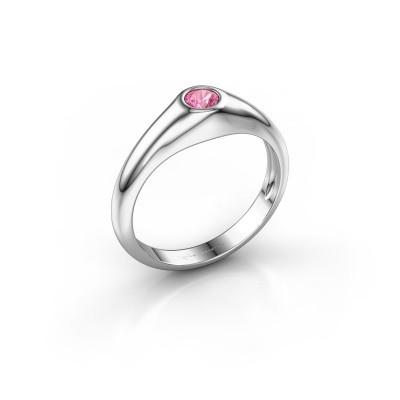 Foto van Pinkring Thorben 375 witgoud roze saffier 4 mm
