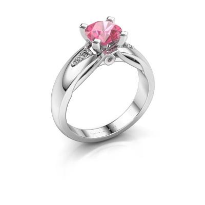 Verlovingsring Ize 585 witgoud roze saffier 6.5 mm