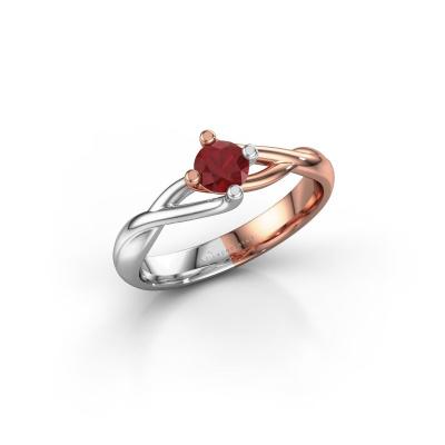 Foto van Ring Paulien 585 rosé goud robijn 4.2 mm