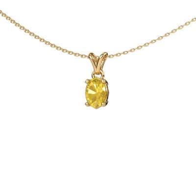 Ketting Lucy 1 585 goud gele saffier 7x5 mm